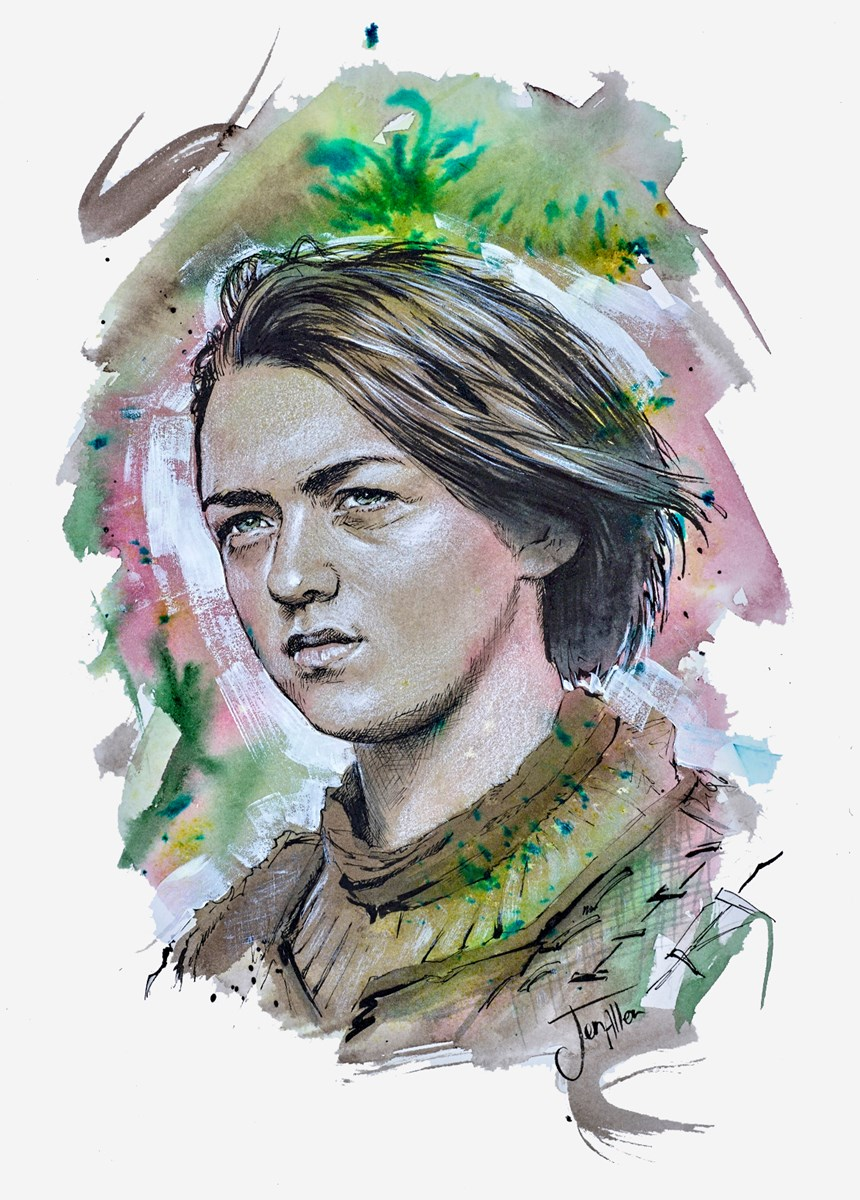 Arya Sketch by jen allen -  sized 10x14 inches. Available from Whitewall Galleries